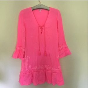 Lilly Pulitzer hot pink lace up cover up dress